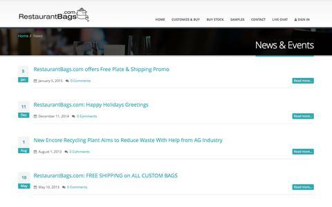 Screenshot of Press Page restaurantbags.com - News & Events - captured Feb. 25, 2016
