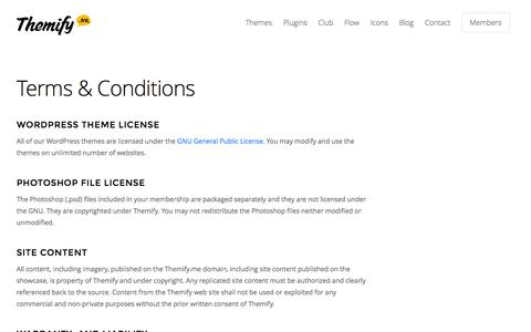 Screenshot of Terms Page themify.me - Terms & Conditions • Themify - captured Nov. 18, 2015