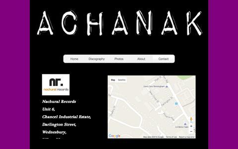 Screenshot of Contact Page achanak.co.uk - Contact - captured May 22, 2016