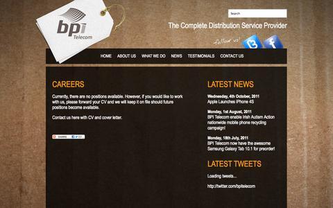 Screenshot of Jobs Page bpi.ie - BPI Telecom - Careers - captured Oct. 5, 2014
