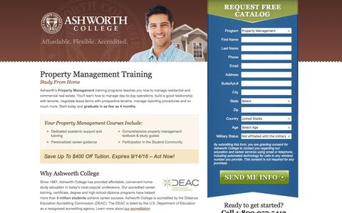 Screenshot of Landing Page ashworthcollege.edu - Property Management Program - Ashworth College Online - captured Sept. 27, 2016