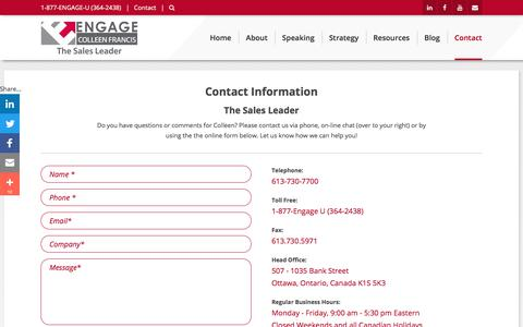 Screenshot of Contact Page engageselling.com - Engage Selling | Contact Information - captured July 19, 2019