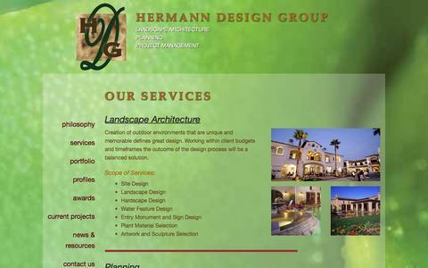 Screenshot of Services Page hermanndesigngroup.com - Hermann Design Group   Services - captured Jan. 29, 2016