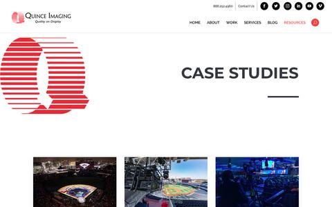 Screenshot of Case Studies Page quinceimaging.com - Video Projection Mapping Case Study | Quince Imaging - captured Nov. 5, 2018