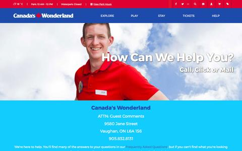 Screenshot of Contact Page canadaswonderland.com - Contact Us - Canada's Wonderland Contact Info   Canada's Wonderland - captured May 13, 2017