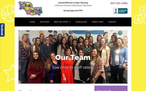 Screenshot of Team Page kidsworksllc.com - Preschool Teachers & Child Care Providers in Casper, WY | Kids Works, LLC - captured April 14, 2017