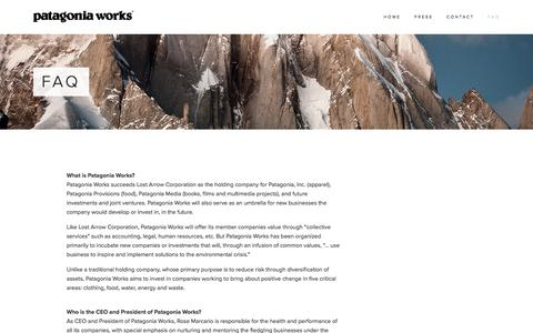Screenshot of FAQ Page patagoniaworks.com - FAQ — Patagonia Works - captured July 11, 2016