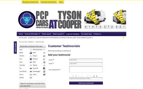 Screenshot of Testimonials Page pcpcars.com - PCP Cars - captured Oct. 6, 2016