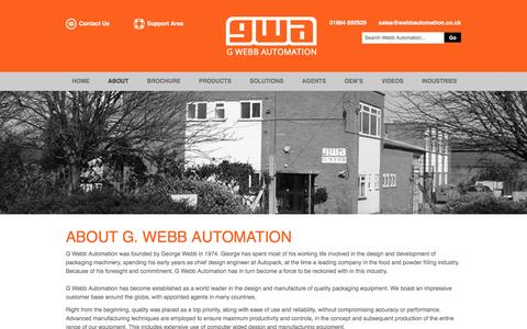 Screenshot of About Page webbautomation.co.uk - About - G. Webb Automation - captured Jan. 24, 2016