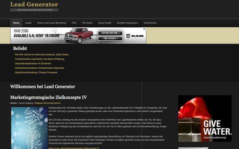 Screenshot of Home Page lead-generator.de - Willkommen bei Lead Generator - captured Sept. 22, 2014