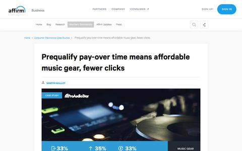 Screenshot of Case Studies Page affirm.com - Affirm means affordable music fear, fewer click for ProAudioStar - captured Dec. 4, 2019