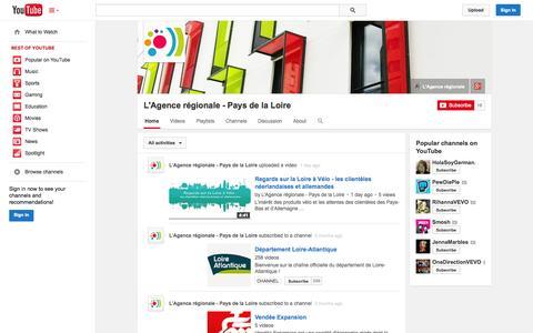 Screenshot of YouTube Page youtube.com - L'Agence régionale - Pays de la Loire  - YouTube - captured Oct. 23, 2014