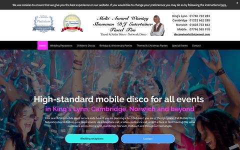 Screenshot of Home Page mobiledisconetwork.com - Mobile Disco Network- Weddings, Birthdays, Parties, King's Lynn - captured July 7, 2018