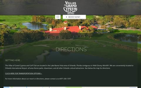 Screenshot of Maps & Directions Page grandcypress.com - Directions to The Villas of Grand Cypress Orlando - captured Nov. 13, 2016