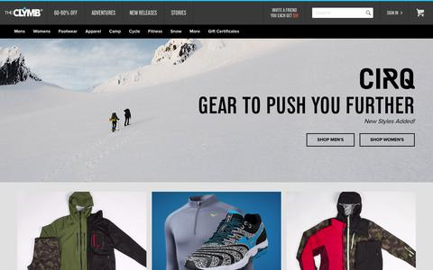 Screenshot of Home Page theclymb.com - The Clymb | The Gear You Need. Up To 70% Below Retail.Ş - captured Dec. 28, 2015