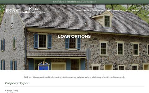 Screenshot of Services Page kellymortgageteam.com - Loan Options | Kelly Mortgage Team - captured June 9, 2017