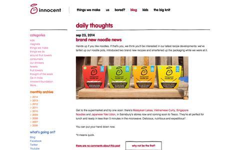 Screenshot of Blog innocentdrinks.co.uk - innocent – 100% pure fruit smoothies, orange juice, kids smoothies and tasty veg pots - captured Sept. 24, 2014
