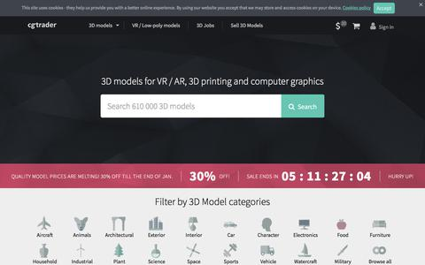 Screenshot of Home Page cgtrader.com - 3D Models for VR / AR and CG projects | CGTrader.com - captured Jan. 26, 2018