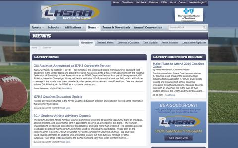 Screenshot of Press Page lhsaa.org - Overview   News - captured Oct. 3, 2014