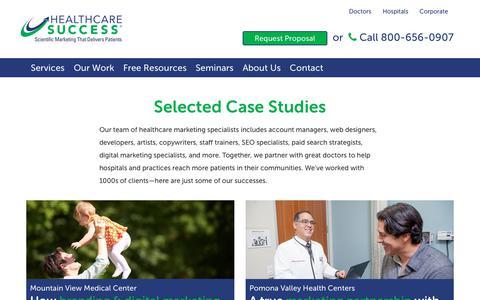Screenshot of Case Studies Page healthcaresuccess.com - Healthcare Marketing Case Studies   Healthcare Success - captured Sept. 27, 2018