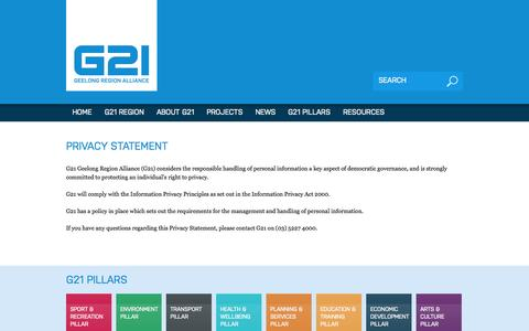 Screenshot of Privacy Page g21.com.au - Privacy Statement | G21 Geelong Region Alliance - captured Oct. 1, 2014