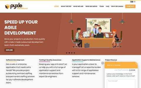 Screenshot of Home Page pyxle.net - Pyxle International | Software Consulting, Team Augmentation, Extended Office - captured Sept. 18, 2017