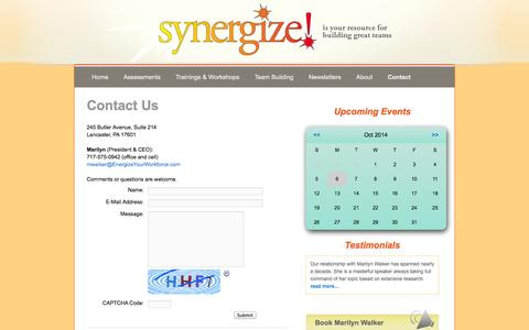 Screenshot of Contact Page energizeyourworkforce.com - Contact Us   synergize! - captured Oct. 6, 2014