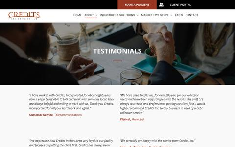 Screenshot of Testimonials Page creditsinc.com - Hire a Business Debt Collection Agency - Credits, Incorporated - Northwest Collection Agency - captured Sept. 29, 2018