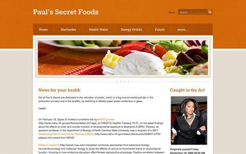 Screenshot of Press Page paulssecret.com - News - Paul's Secret Foods - captured Oct. 2, 2014