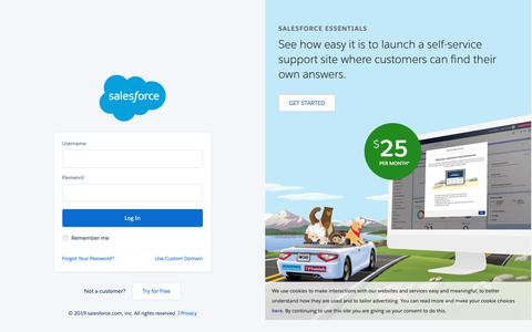 Screenshot of Login Page salesforce.com - Login | Salesforce - captured Feb. 14, 2019