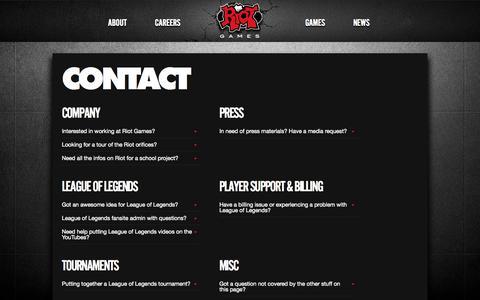 Screenshot of Contact Page riotgames.com - Contact | Riot Games - captured Sept. 17, 2014