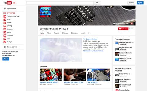 Screenshot of YouTube Page youtube.com - Seymour Duncan Pickups  - YouTube - captured Oct. 23, 2014