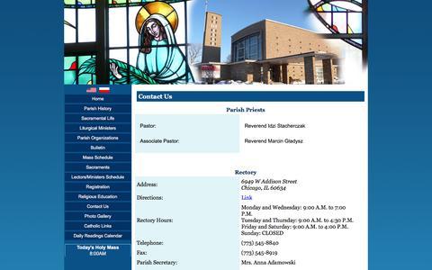Screenshot of Contact Page stpriscilla.org - St Priscilla Catholic Church - Contact Us - captured May 31, 2016