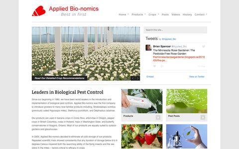 Screenshot of Home Page appliedbio-nomics.com - Welcome - Applied Bio-nomics Ltd. - captured June 15, 2016