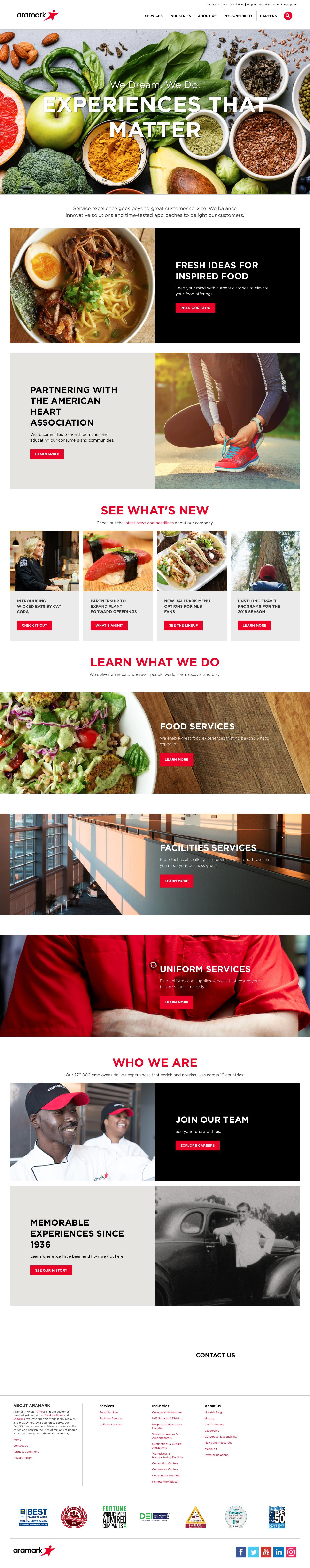 Screenshot of aramark.com - Aramark | Food, Facilities, and Uniform Services - captured June 18, 2018