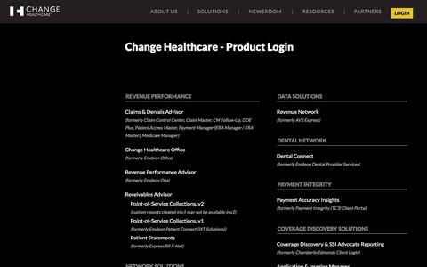Screenshot of Login Page changehealthcare.com - Change Healthcare - Product Login - captured May 8, 2017