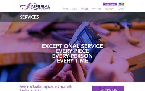 Screenshot of Services Page imperialmetrology.com - Imperial Metrology | Dimensional Inspection and Engineering - captured Oct. 14, 2017