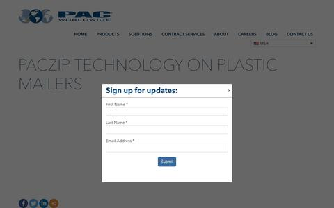 Screenshot of Contact Page pac.com - PACzip Technology on Plastic Mailers - PAC Worldwide - captured Nov. 5, 2019