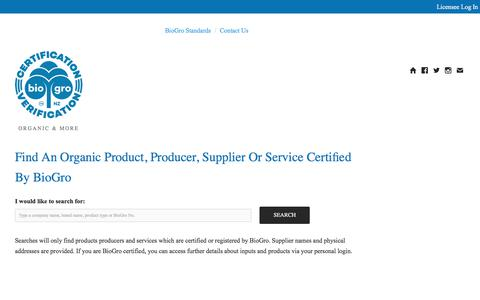 Screenshot of Products Page biogro.co.nz - Biogro: Search - captured Oct. 10, 2017