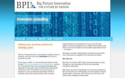 Screenshot of Home Page bigpictureinnovation.com - Big Picture Innovation - innovation consultant, aviation industry - captured Sept. 30, 2014