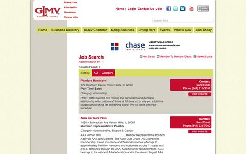 Screenshot of Jobs Page glmvchamber.org - Job Search - GLMV Chamber of Commerce, IL - captured Dec. 13, 2018