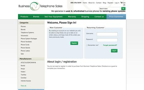 Screenshot of Login Page businesstelephone.com - Business Phones - Used and Refurbished - Business Telephone Sales. Login - captured Sept. 22, 2014
