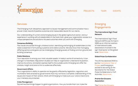 Screenshot of Services Page emergingag.com captured Oct. 28, 2014