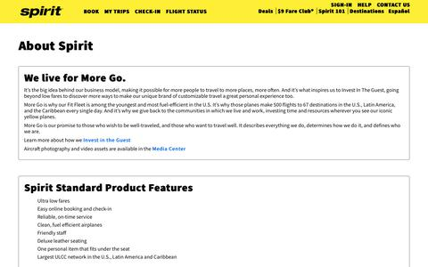 Screenshot of About Page spirit.com - About Spirit | Spirit Airlines - captured March 7, 2019
