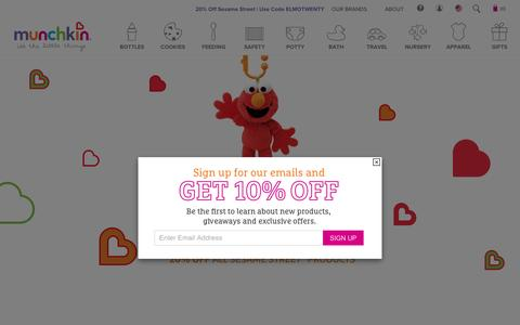 Screenshot of Home Page munchkin.com - Munchkin Baby Products | Sippy Cups | Baby Accessories & Supplies - captured Feb. 4, 2017