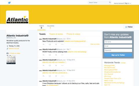 Screenshot of Twitter Page twitter.com - Atlantic Industrial® (@Atlantic_Ind) | Twitter - captured Oct. 23, 2014