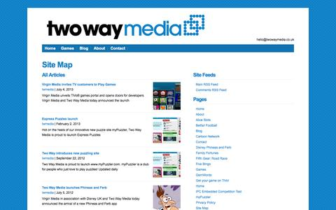 Screenshot of Site Map Page twowaymedia.co.uk - Site Map - two way media  : two way media - captured Sept. 30, 2014