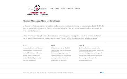Screenshot of Home Page jeff-kent.com - Jeffrey Kent Copywriting and Editorial - captured Oct. 6, 2014