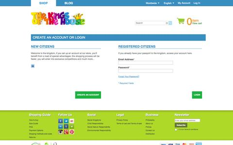 Screenshot of Login Page thekingsofthehouse.com - Customer Login - captured Sept. 30, 2014
