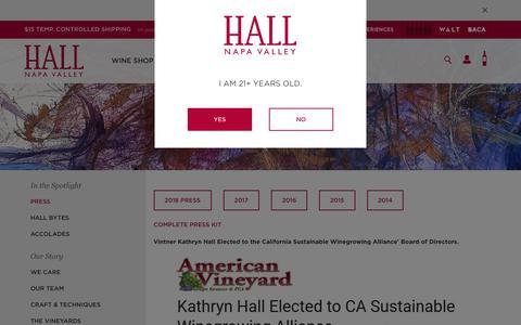 Screenshot of Press Page hallwines.com - Press   Napa Valley   HALL Wines - captured Sept. 30, 2018